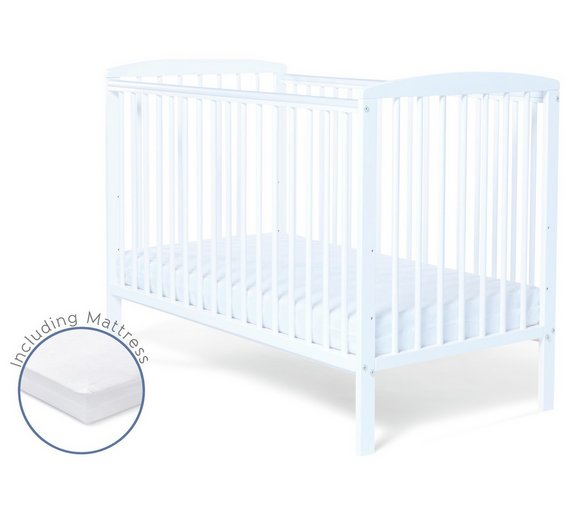 Buy Baby Elegance Starlight Cot and Mattress - White | Cots, cribs ...