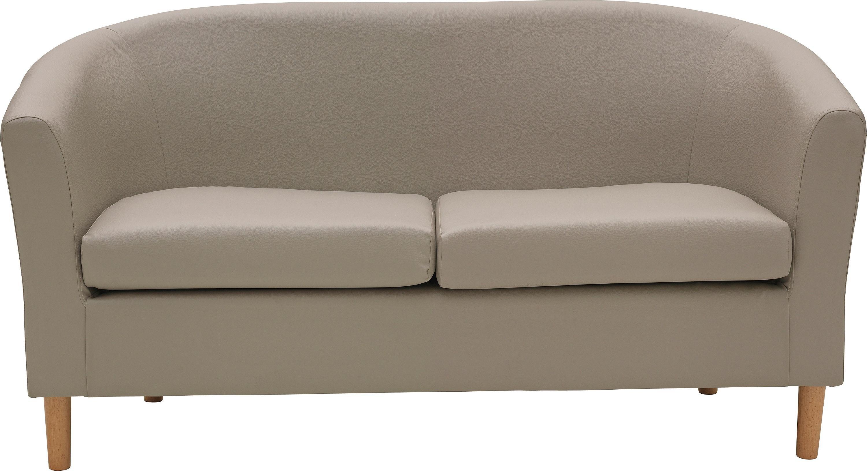 Habitat 2 Seater Faux Leather Tub Sofa - Mocha