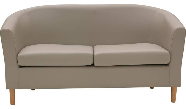 Argos Home 2 Seater Faux Leather Tub Sofa - Mocha