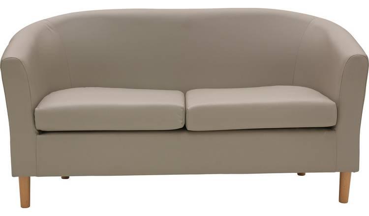 Buy Argos Home 2 Seater Faux Leather Tub Sofa Mocha | Sofas | Argos
