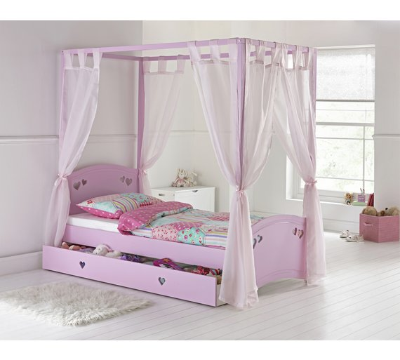 Buy Collection Mia Single 4 Poster Bed Frame Pink At