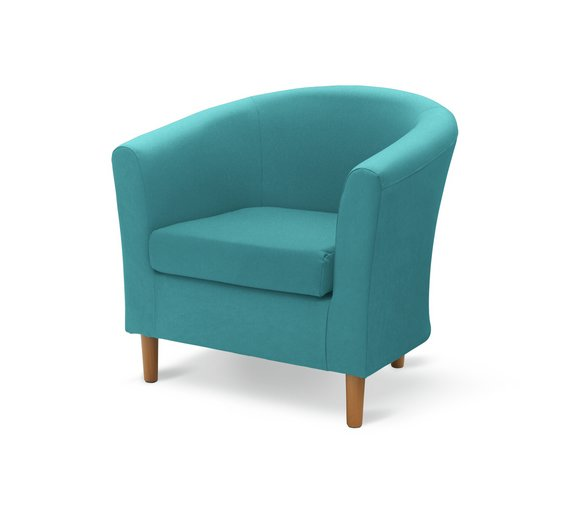 buy argos home fabric tub chair teal armchairs and chairs argos
