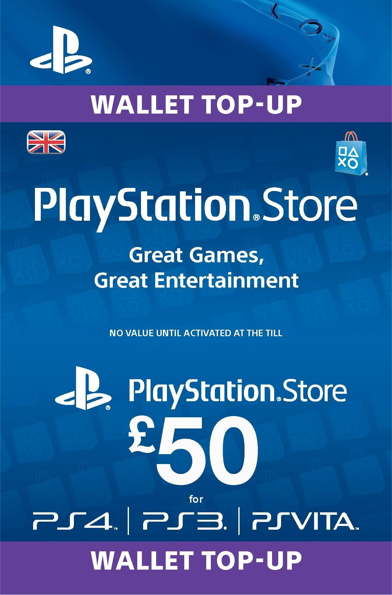 Sony PlayStation Wallet Top-up: £50.00 GBP (PSN)