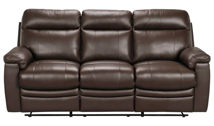 Buy Argos Home Paolo 3 Seater Manual Recliner Sofa - Brown | Sofas | Argos