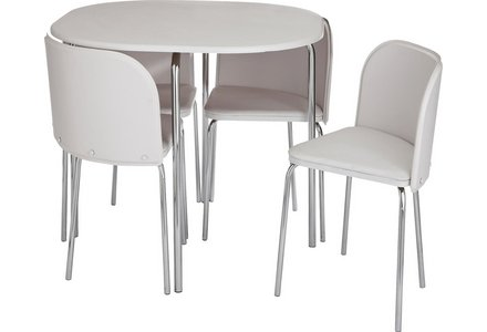 Hygena Amparo White Dining Table and 4 White Chairs.