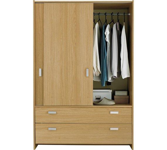 buy argos home capella 2 door 2 drw sliding wardrobe oak eff