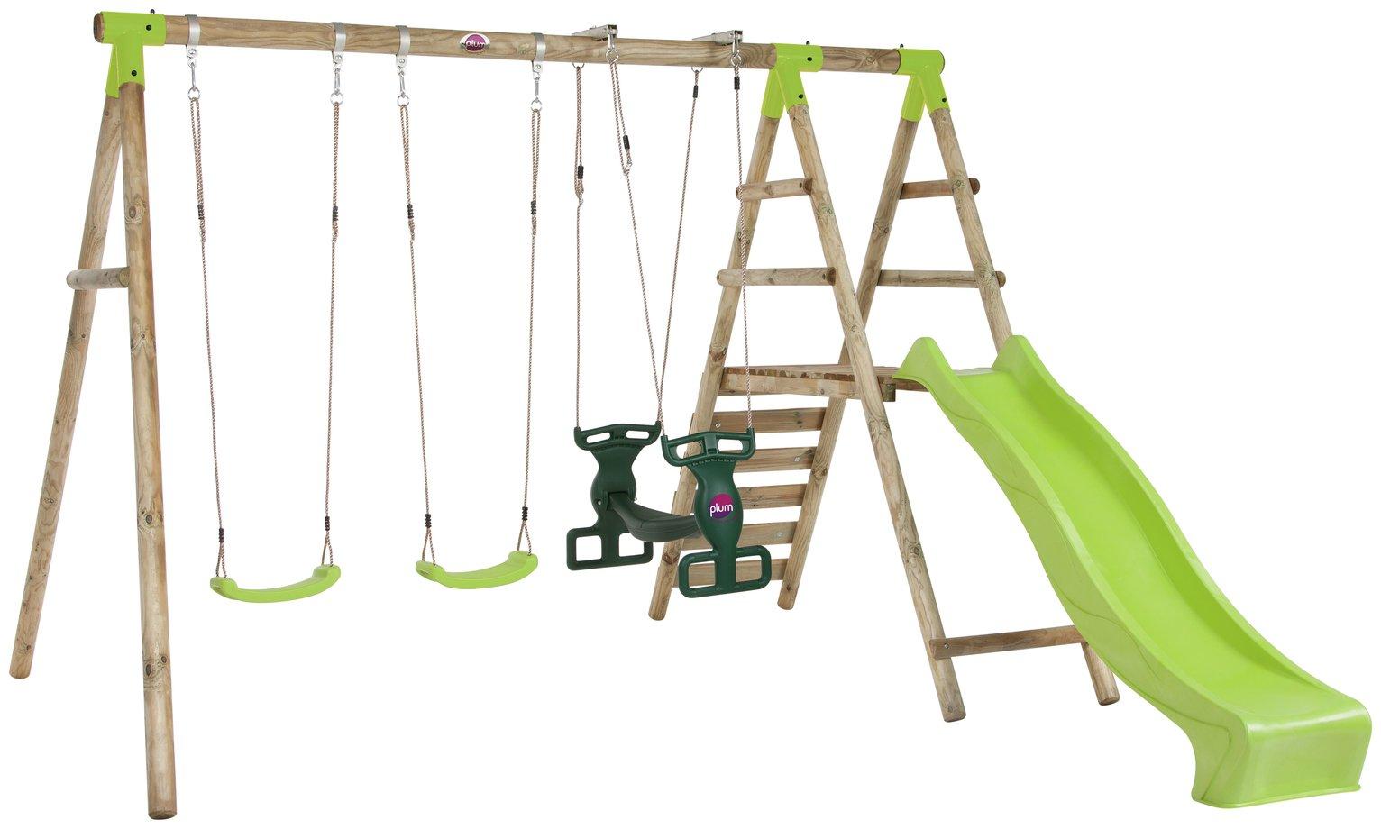 Plum Silverback Wooden Garden Swing Set.