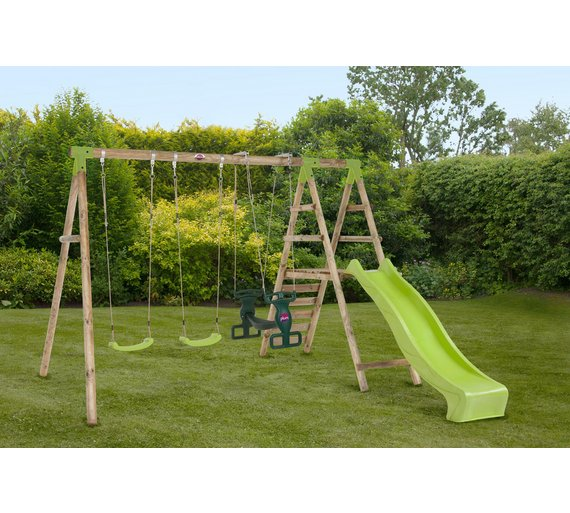 Buy plum silverback wooden garden swing set at for Swing set frame only