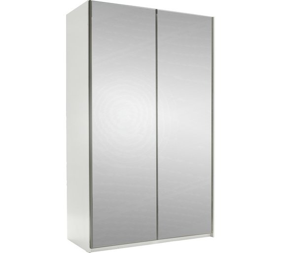 hygena bergen 2 door small sliding wardrobe mirrored - Small Wardrobe
