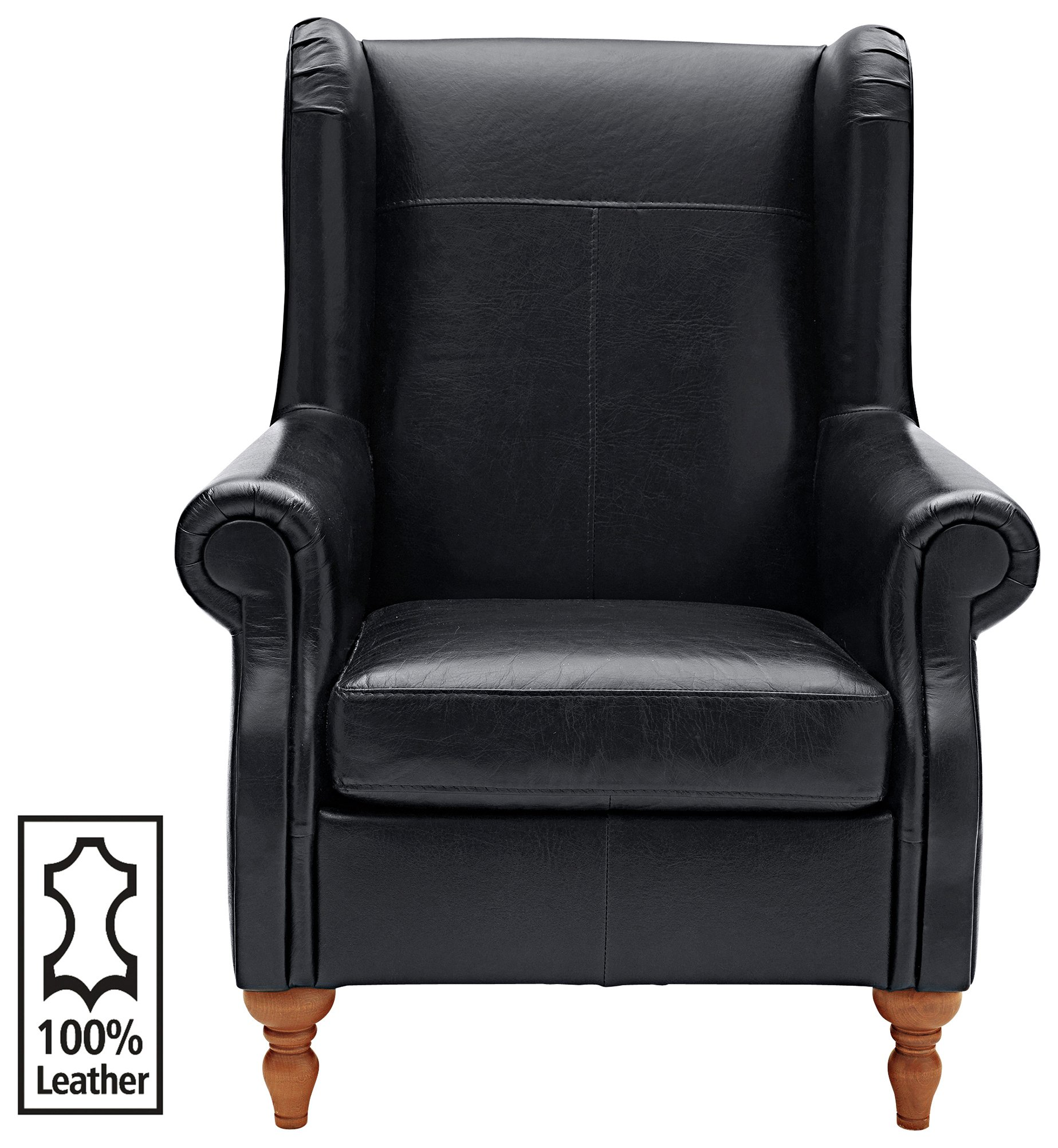 Argos Home Argyll Leather High Back Chair - Black