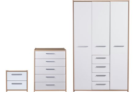 HOME New Sywell 3 Pc 3 Dr Wardrobe Package - Oak/White Gloss