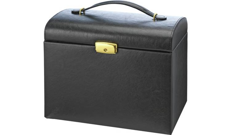 Black Faux Leather Large Three Drawer Jewellery Box