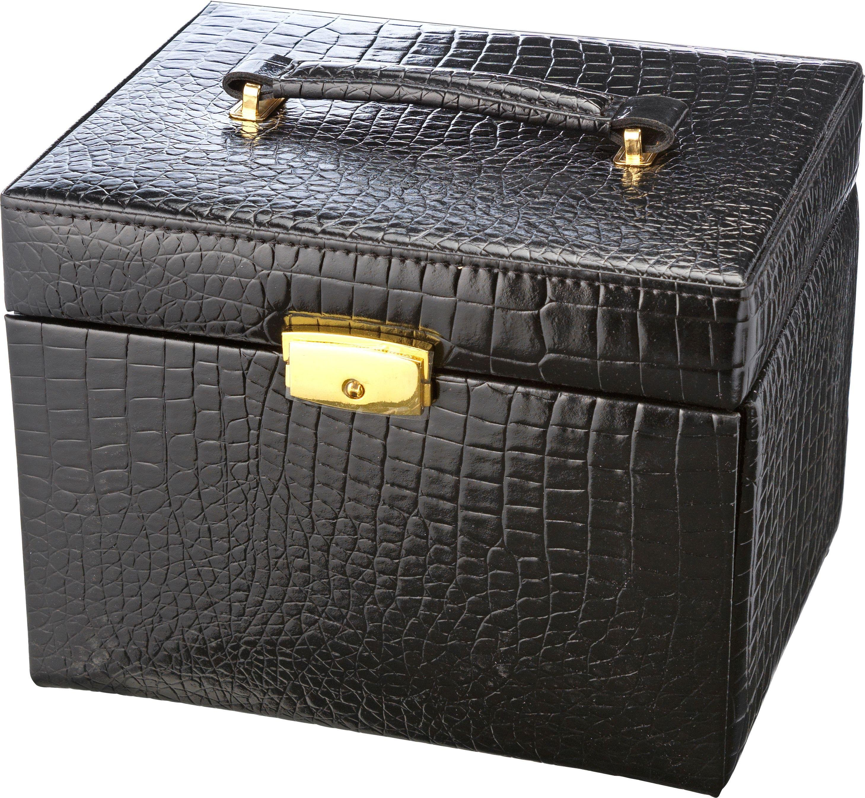 Black Crocodile Small Four Drawer Jewellery Box