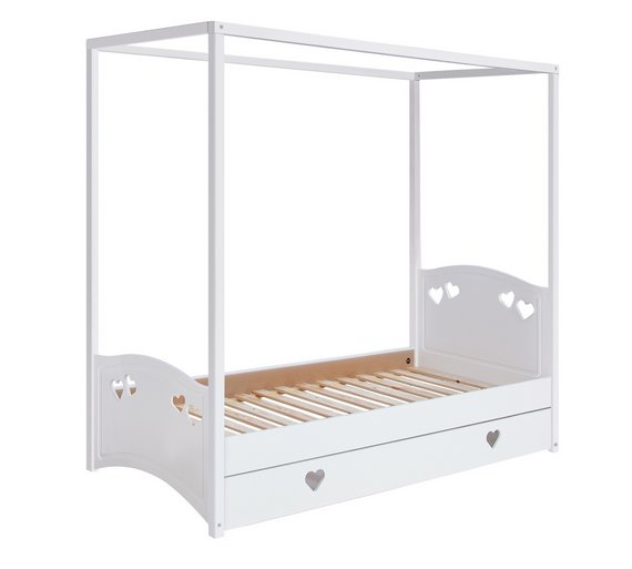 Buy collection mia single 4 poster bed frame white at for Four poster dog bed for sale