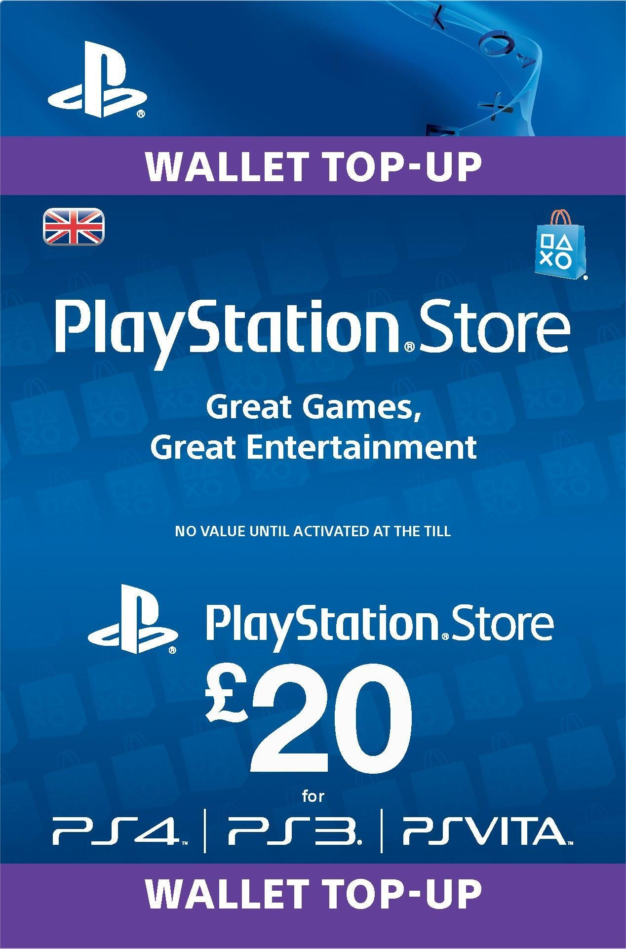 Sony PlayStation Wallet Top-up: £20.00 GBP (PSN)