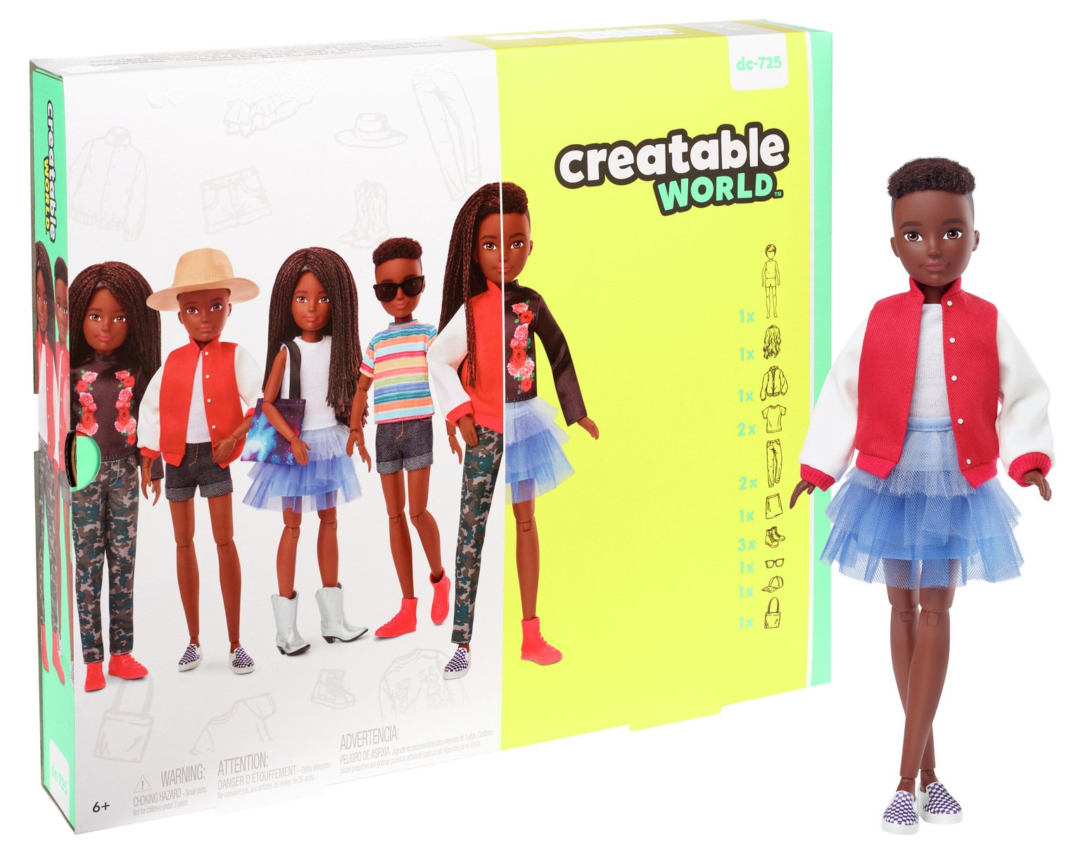 Creatable World Deluxe Character Kit - Black Braided Hair