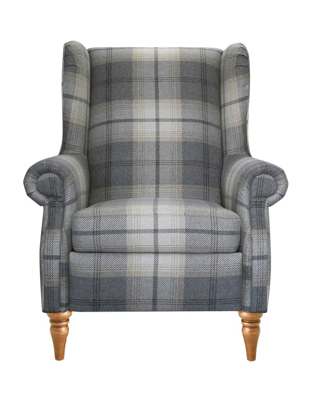 Argos Home Argyll Fabric High Back Chair - Light Grey Check