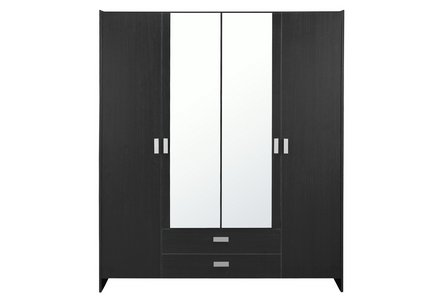HOME New Capella 4 Door 2 Drawer Mirrored Wardrobe - Black
