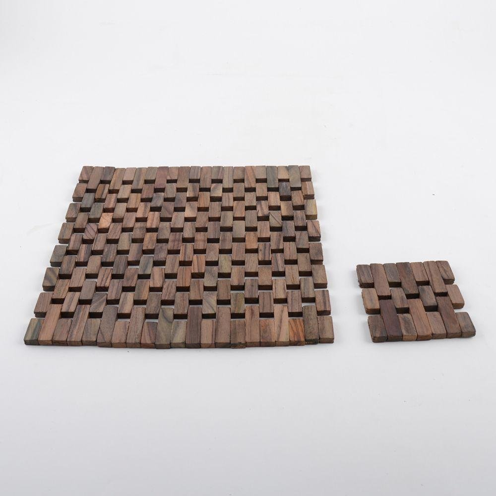 Image of Creative Tops - 4 Slatted Wood Mats and Coasters - Wood
