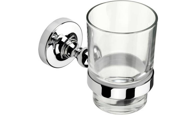 Croydex Worcester Tumbler and Holder - Chrome.