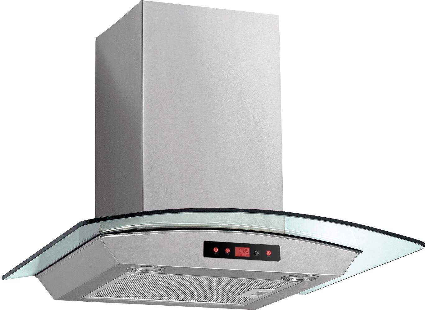 Image of Baumatic BTC6750GL 60cm Glass Cooker Hood - Stainless Steel
