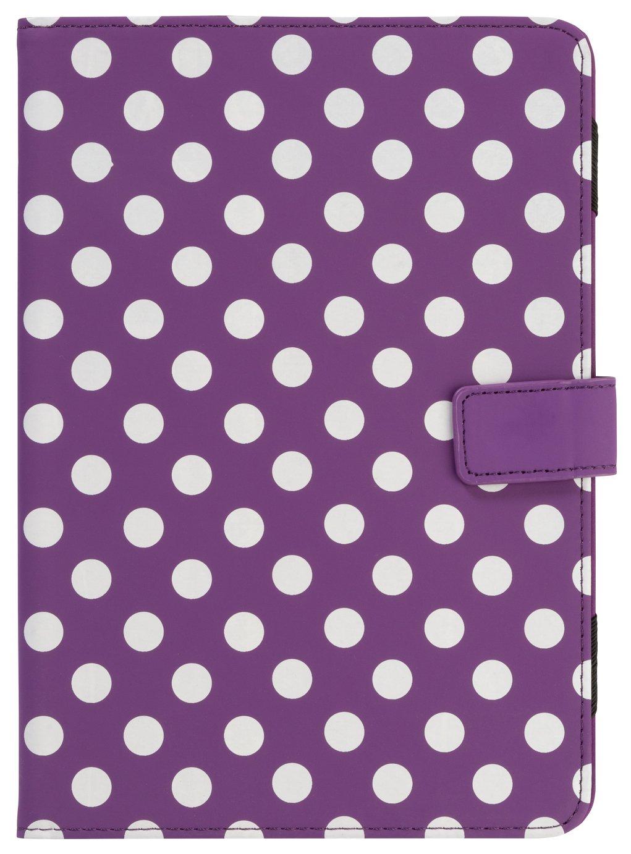Universal - 7/8 Inch Polka Dot PVC Tablet Case - Purple