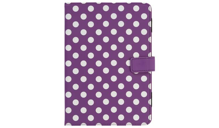 Universal 7/8 Inch Polka Dot PVC Tablet Case - Purple