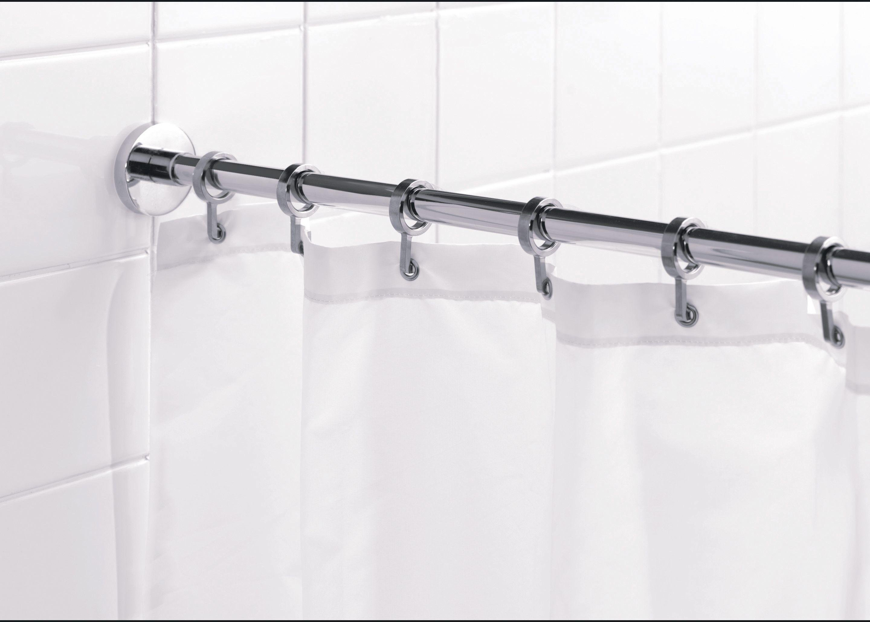 croydex round shower curtain rod and rings chrome. Black Bedroom Furniture Sets. Home Design Ideas