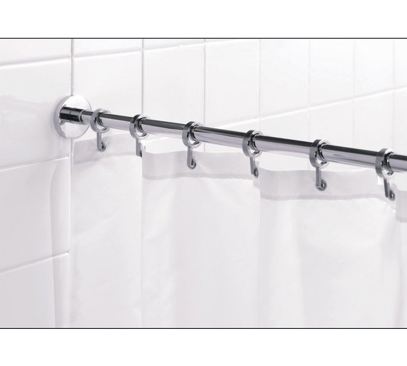 Curtains Ideas curtain rod and rings : Buy Croydex Round Shower Curtain Rod and Rings - Chrome at Argos ...