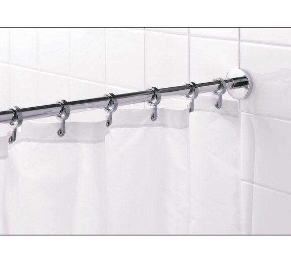 Buy Croydex Round Shower Curtain Rod and Rings - Chrome | Shower ...