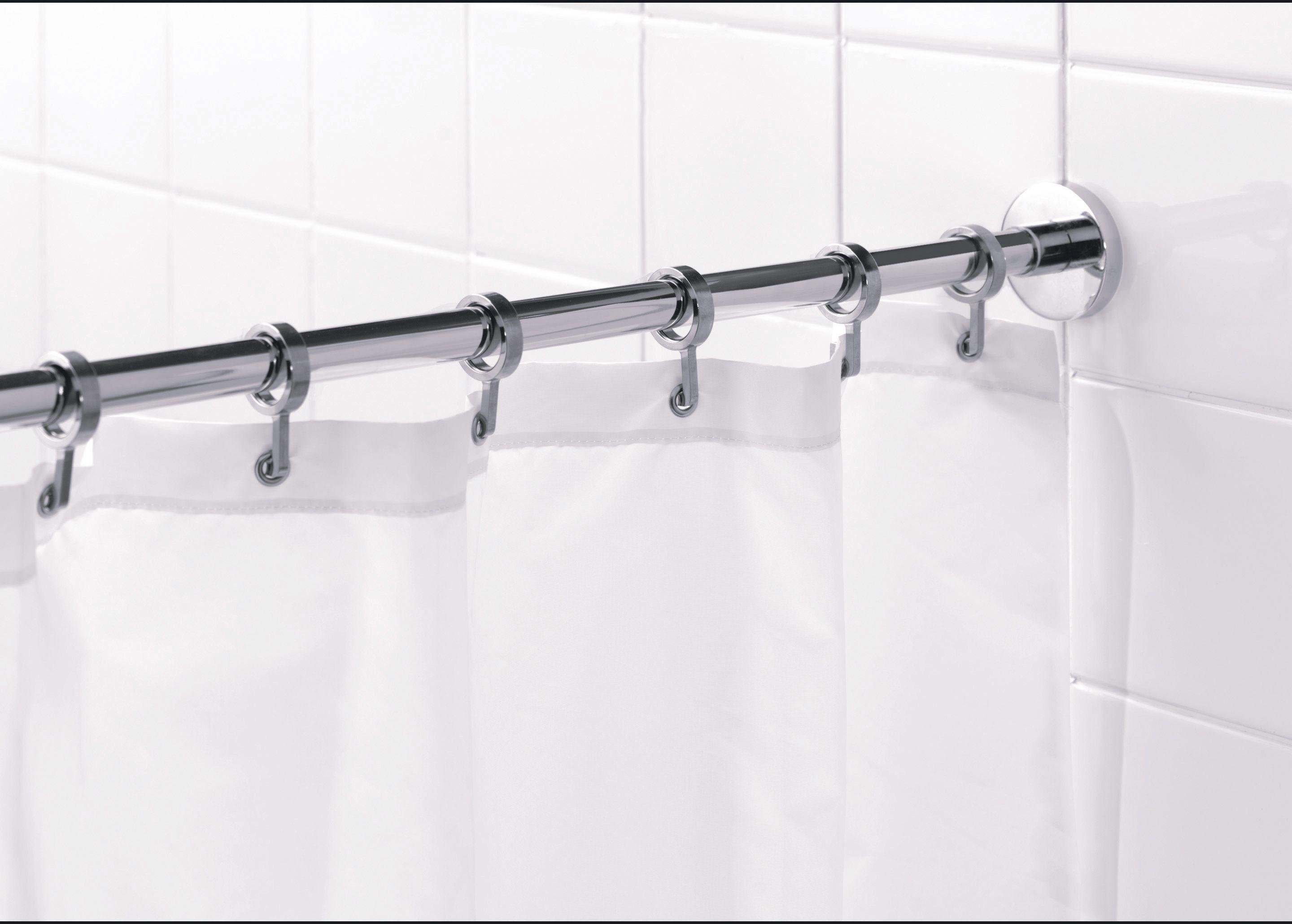 croydex round shower curtain rod and rings