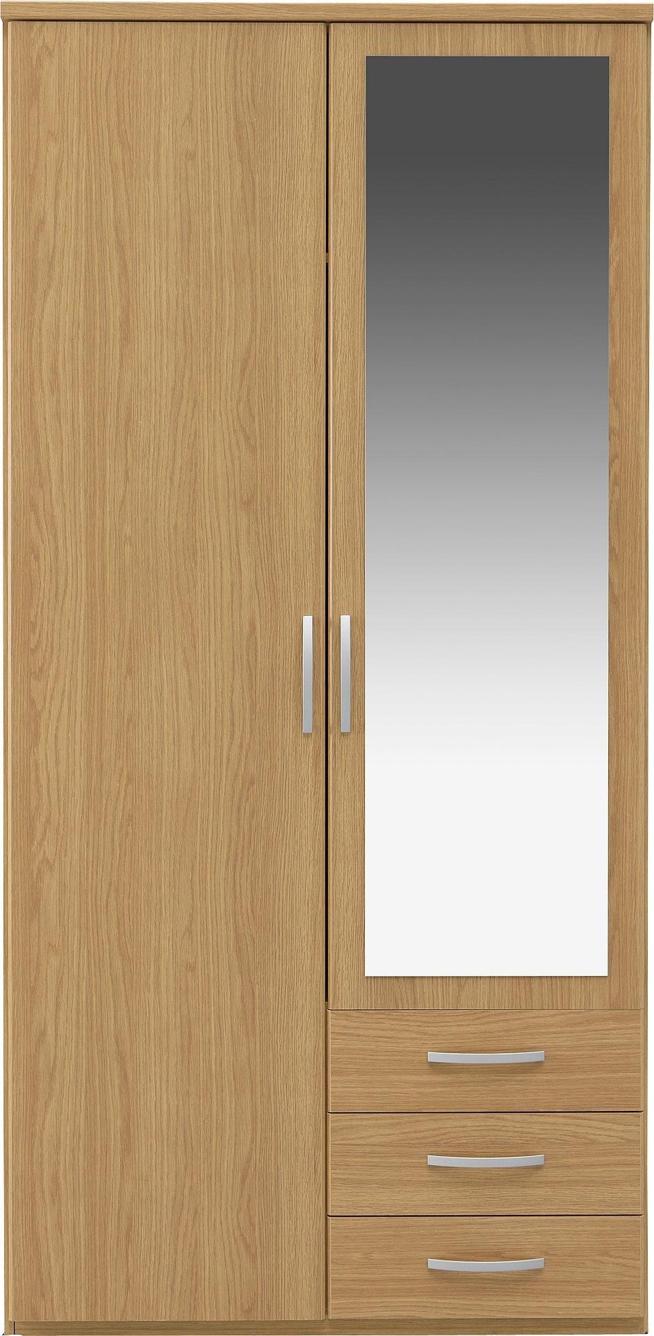 mirror wardrobe. collection new hallingford 2 dr 3 drw mirror wardrobe - oak i