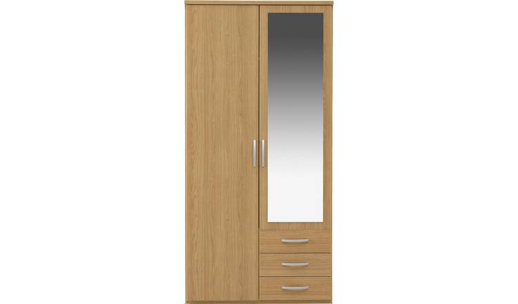 Argos Home New Hallingford 2 Dr 3 Drw Mirror Wardrobe - Oak