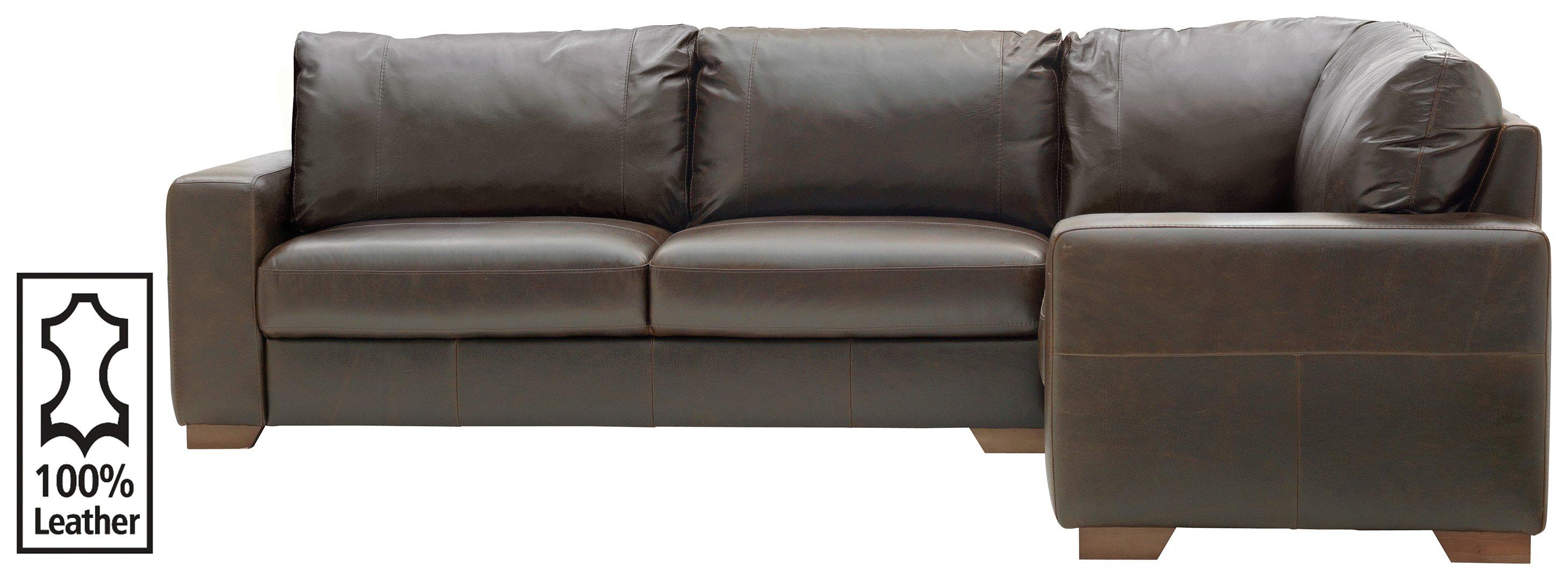 Argos Home Eton Right Corner Leather Sofa - Dark Brown