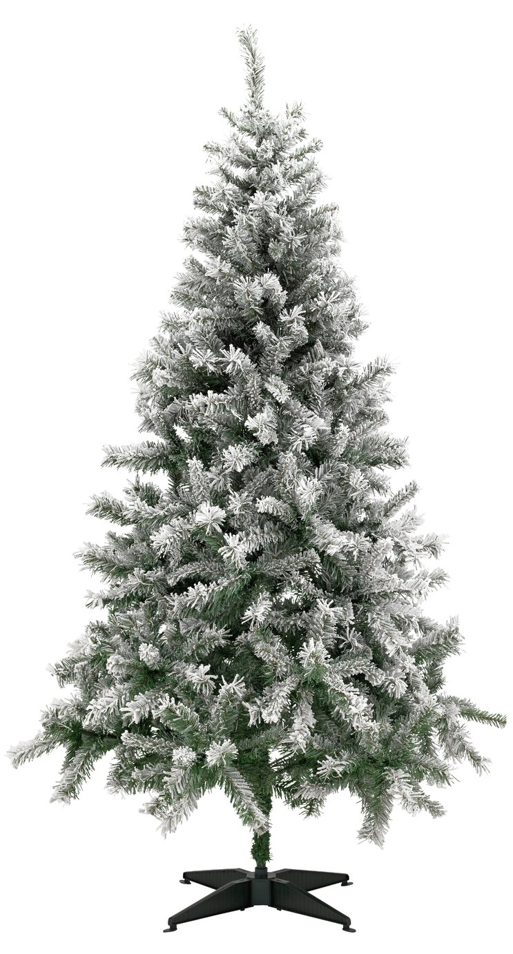 Green Snow Covered Christmas Tree - 6ft