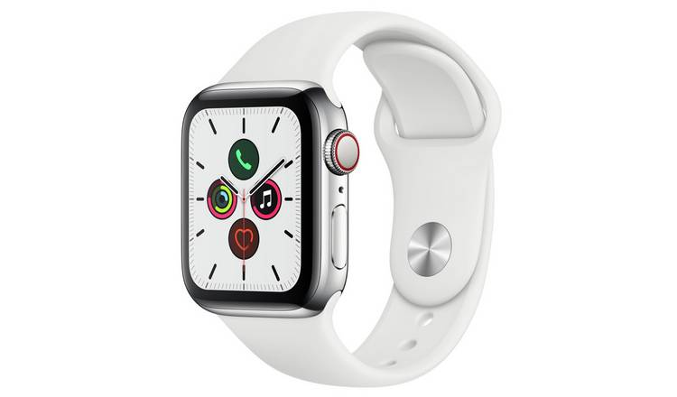 Apple Watch S5 Cellular 40mm S Steel / White Band