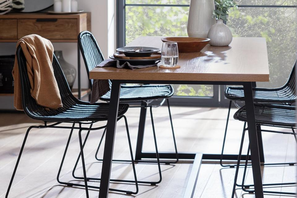 Industrial style dining table and 4 metal chairs.