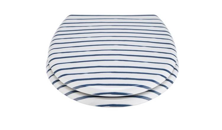 Argos Home Striped Toilet Seat - Navy