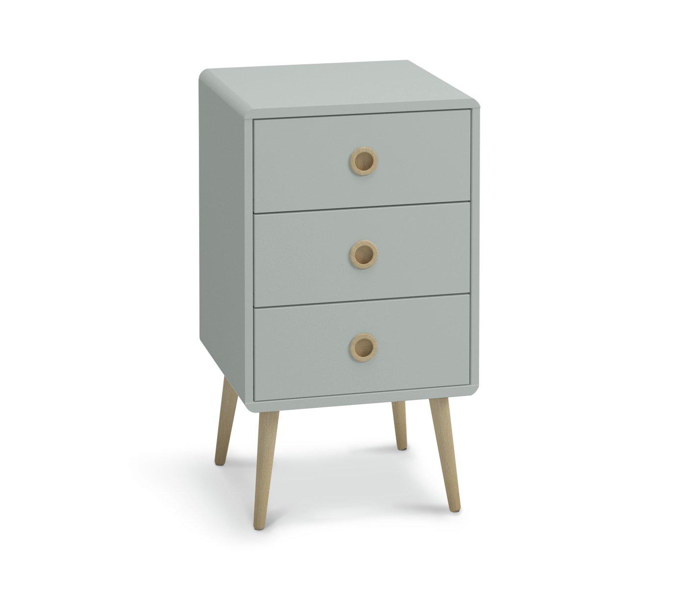 Argos Home Softline 3 Drawer Bedside Table - Grey