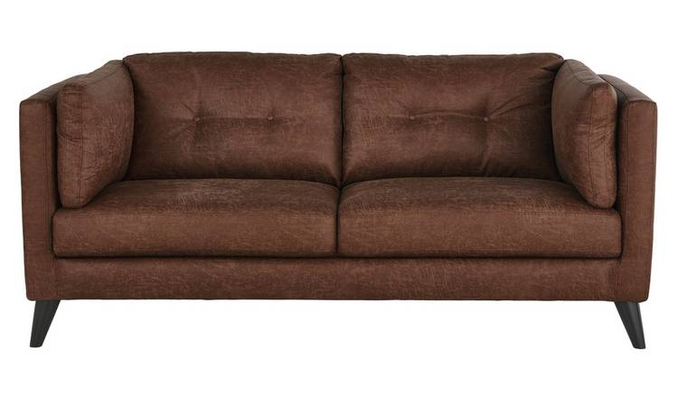 Argos Home Charlie Compact 3 Seater Faux Leather Sofa - Tan