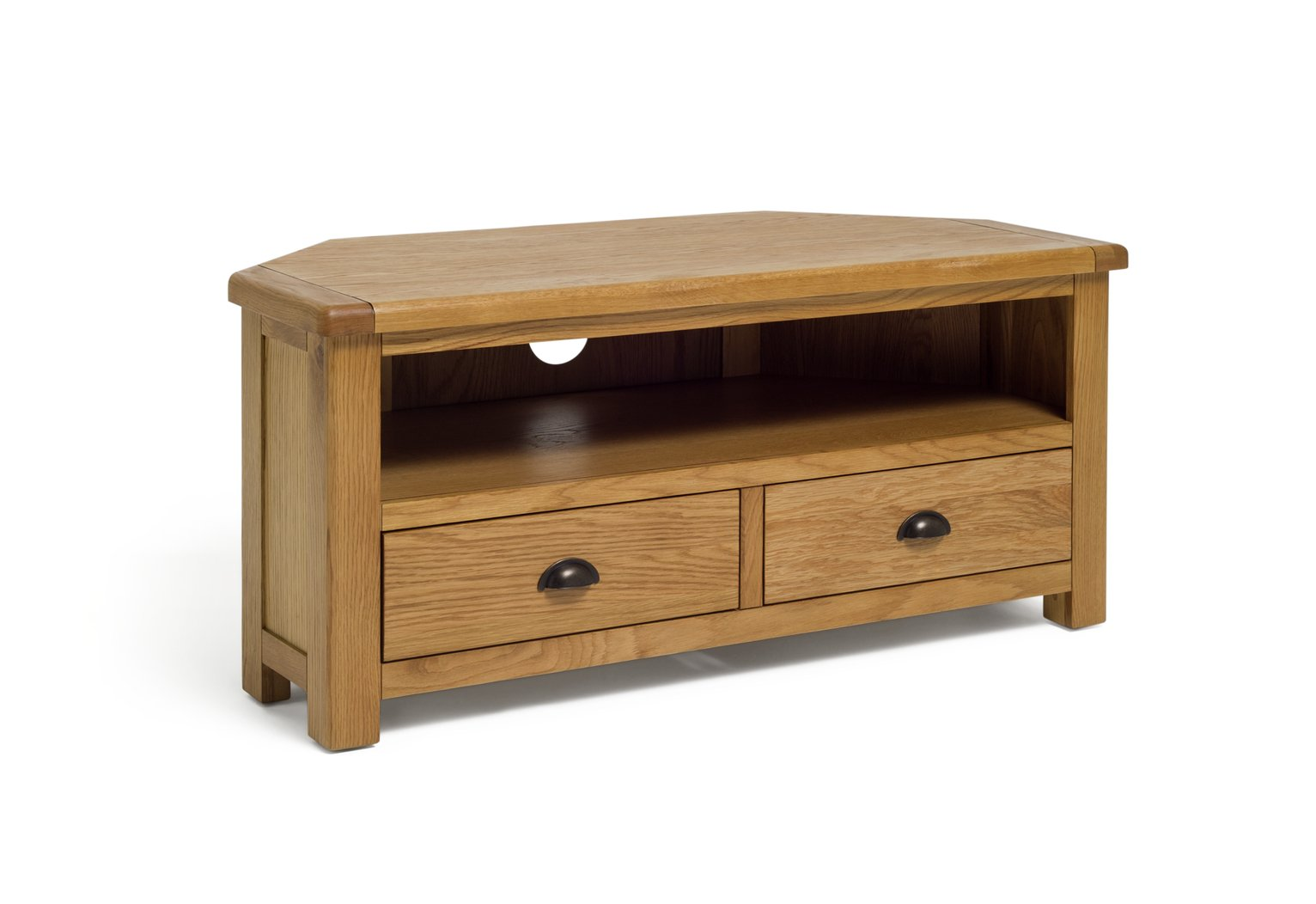 Argos Home Kent 2 Drawer Oak & Oak Veneer Corner TV Unit