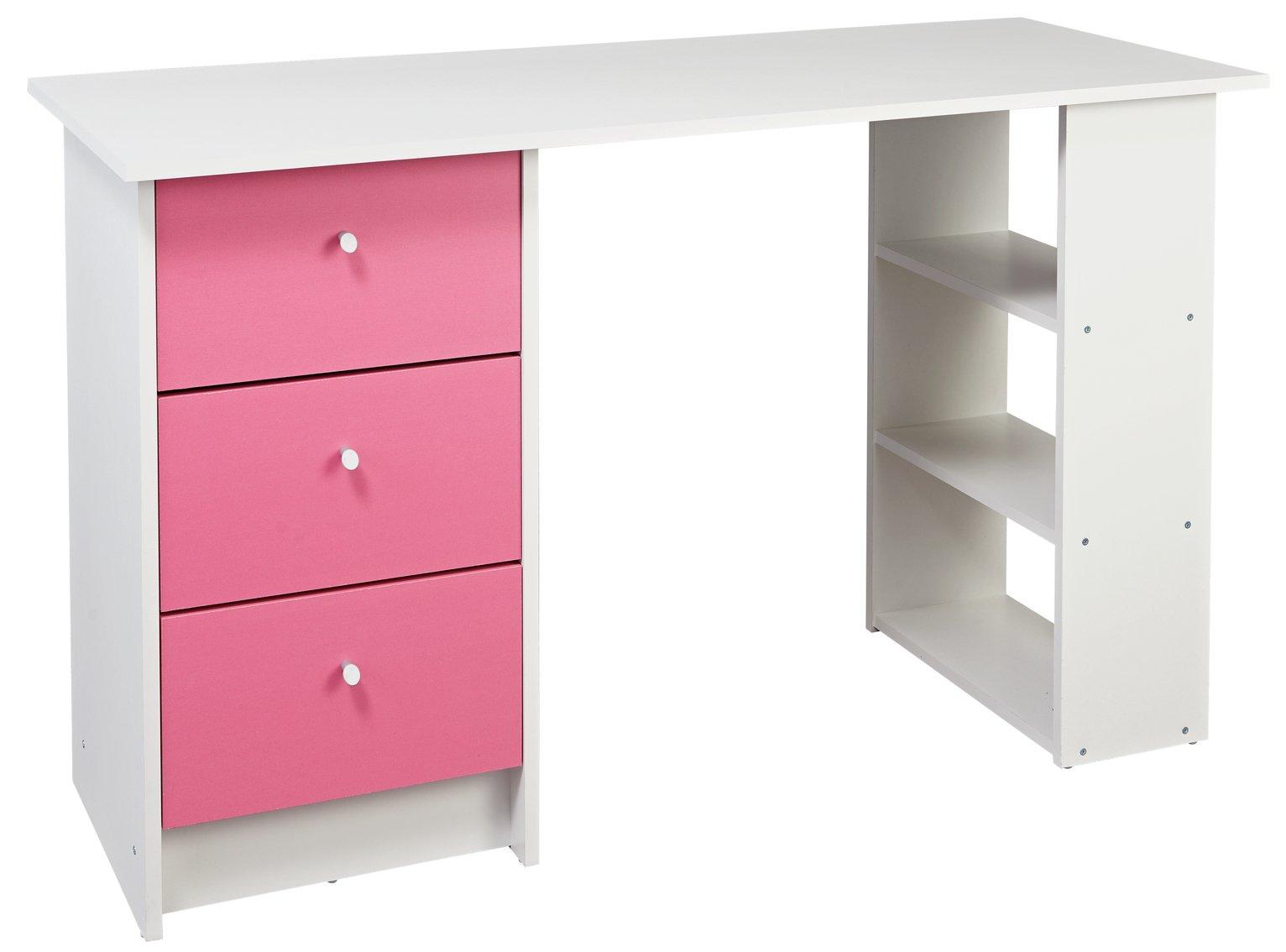 Argos Home Kids New Malibu 3 Drawer Desk - Pink on White
