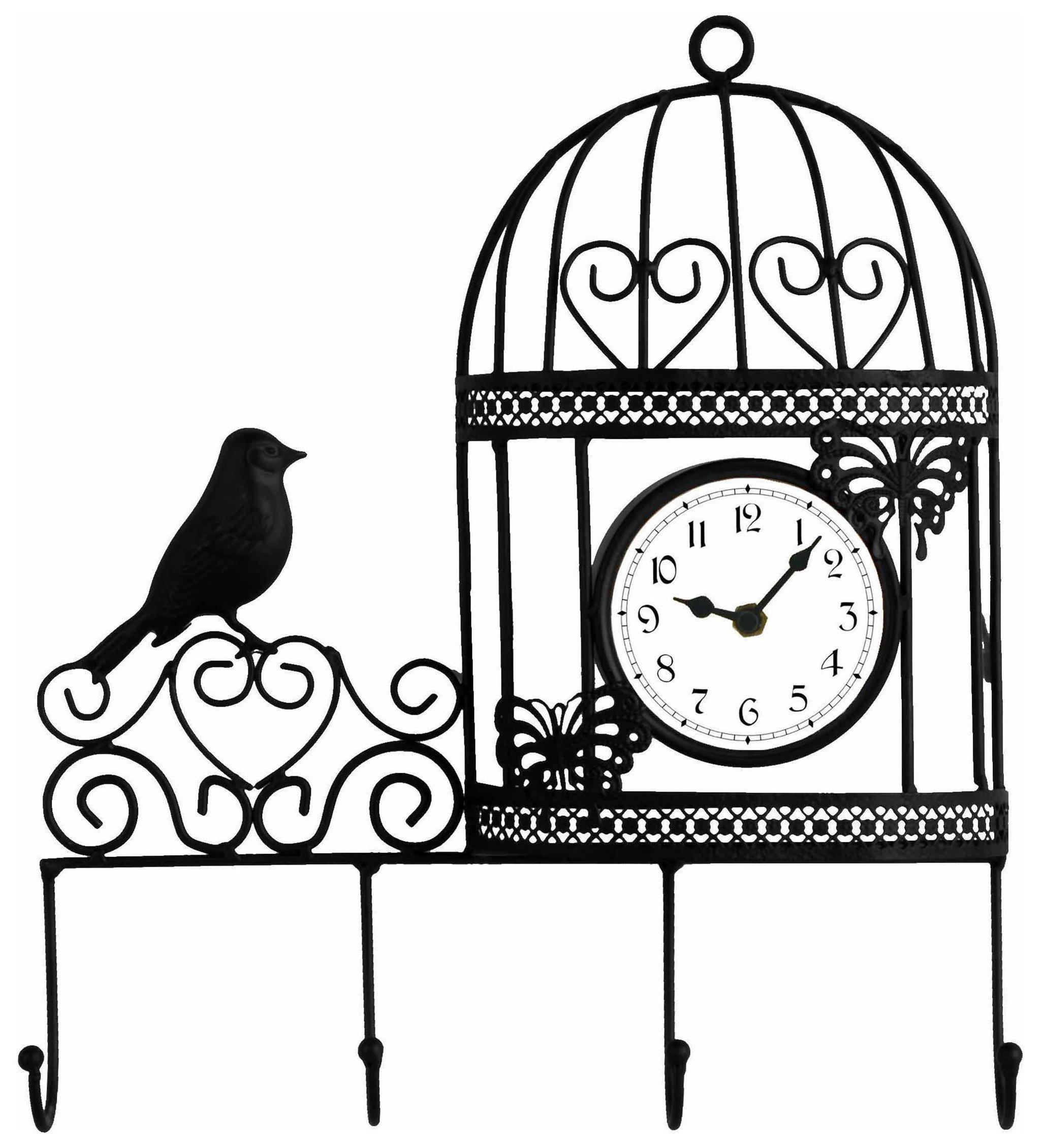 Black Kitchen Clock Argos: Decorative Wall Mounted Bird Cage Wall Clock And Coat Hanger