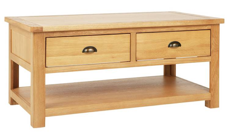 Habitat Kent 2 Drawer Oak & Oak Veneer Coffee Table Oak
