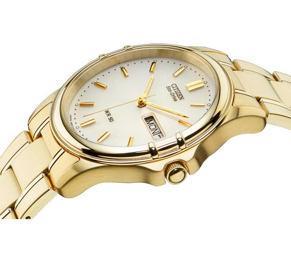 buy citizen men s gold plated eco drive bracelet watch at argos co loading