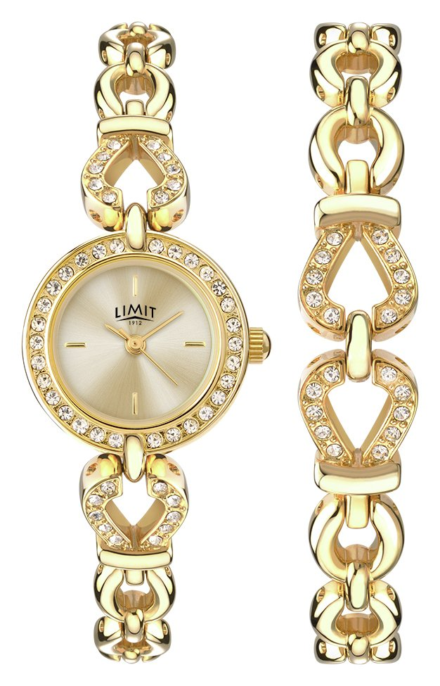 Limit Ladies' Gold Plated Stone Set Watch and Bracelet Set