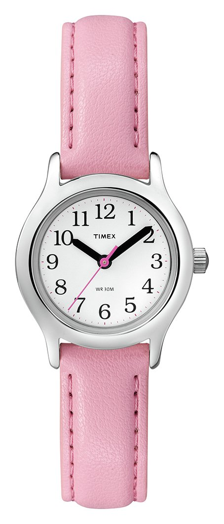 Timex Pink First Easy Reader Leather Strap Watch