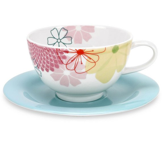 Buy Portmeirion Crazy Daisy Set of 4 Breakfast Cups and Saucers ...