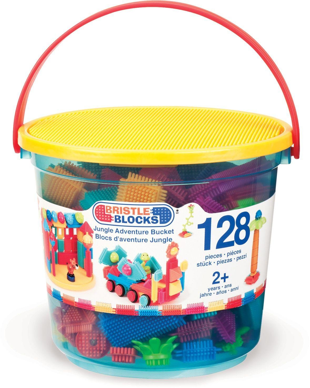 Image of Bristle Blocks Jungle Adventure Storage Bucket - 128 Pieces.