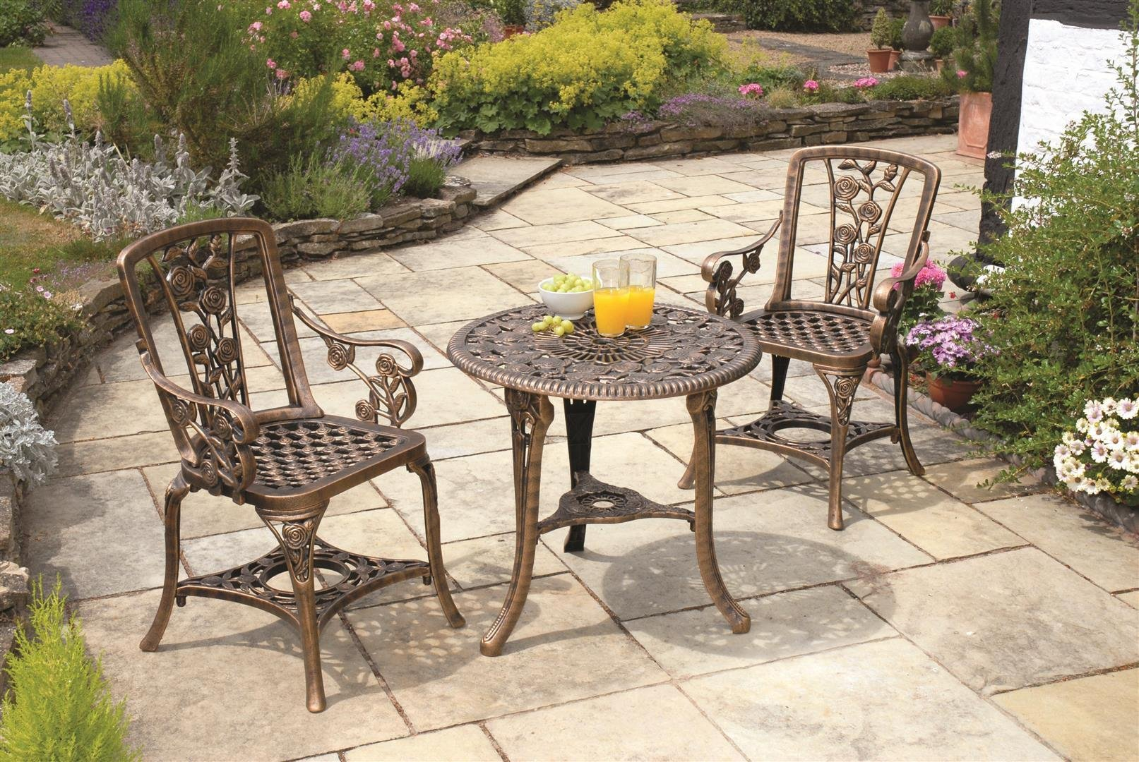 Buy Rose Garden Bistro Set Bronze at Argoscouk Your Online